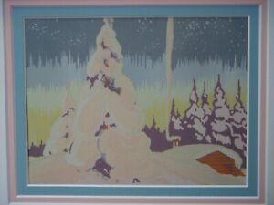 CANADIAN SILKSCREEN 1930s CHRISTMAS CARD POSSIBLY BEATTY KATHLEEN WARD BANTING