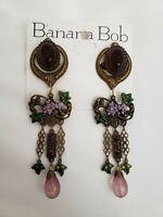 BANANA BOB Vtg Flower LILY Dangle PURPLE CRYSTAL Clip Earrings WINE FEST