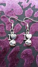 "Handmade I ♡ football pair of earrings (""antique silver"")"
