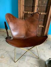 Rustic Retro Metal Industrial Seat Vintage Brown Aged Leather Butterfly Chair