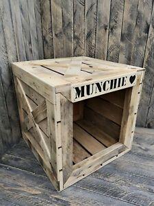 Wooden crate cat dog pet house shelter den bed kennel handmade natural rustic