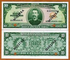 Specimen, Dominican Republic 10 Pesos Oro ND (1964-1974) P-101s, UNC
