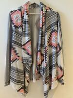 PINK GREY WATERFALL CARDIGAN M/L AZTEC WINTER PRETTY BOHO CHIC CHELSEA SUMMER