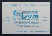 Carte de visite LA CARPE les plus beaux ustensiles en Aluminium cuisine PARIS