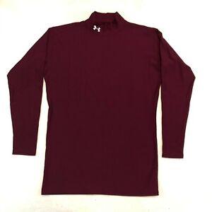 Under Armour Coldgear Long Sleeve Maroon Red Shirt Mock Neck Men's XL