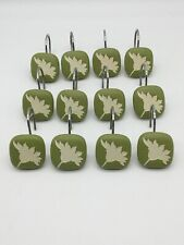 12pcs Vintage Shower Curtain Hooks Green And Cream Color Flower
