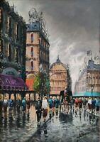 Quadro dipinto olio su tela firmato, Strada di Parigi con figure Belle Epoque