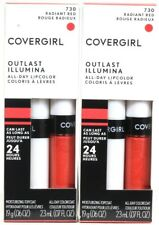 2 Covergirl 730 Radiant Red Outlast 24hr Color & Moisturizing Topcoat Lipcolor