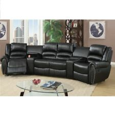 Black Bonded Leather Reclining Sofa Set Home Theater Sectional Sofa Set