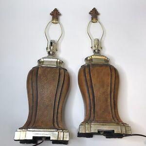 Pair UTTERMOST Lighting Table Lamp Crackled Aged Bronze Gold Fleur De Lis Finial