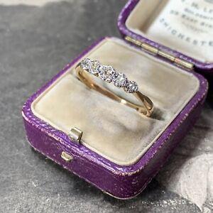 Antique 22ct Gold Diamond Ring Edwardian Art Deco 5 Stone half eternity band UKR