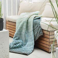 IBENA Seafoam Soft Jacquard Woven Plush Cotton Blend Blanket Throw Emmen