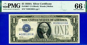 Near TOP POP - 1928-A $1 S/C (( 2nd Finest - Blue Seal STAR)) PMG 66EPQ # *1003-