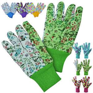 3 Pairs Ladies Gardening Gloves Stylish Floral Design Garden Gripper