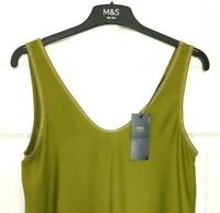 Ladies Vest Top Camisole M&S Lime Green Crepe Front Jersey Back BNWT Marks Women