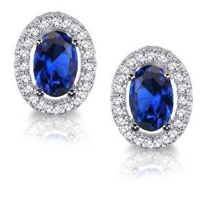 Blue Sapphire Oval Simulated Diamond Halo Sterling Silver Stud Earrings