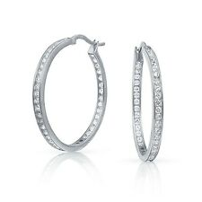"1.6"" Inside Out Brilliant Round Diamonique CZ Hoop Earrings Anti Tarnish Silver"