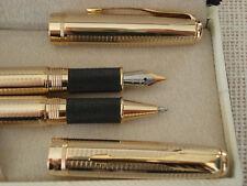 Parure stylo roller et plume Regent dorés très élégant magnifique cadeau