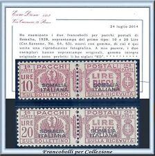 Colonie Italiane 1928 Somalia Pacchi Postali Serie n. 64/65 Cert. Diena Nuovi **