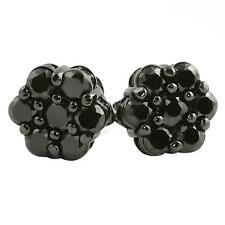 Hip Hop Classic Cluster Black Cz Bling Bling Earrings Iced Out Ear Jewelry