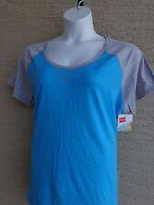 NWT Hanes Cotton Blend Raglan S/S Scoop Neck Baseball Tee Shirt L Blue /Gray