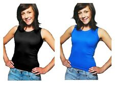 Womens Sleeveless Summer Vest Top Tank Strappy T Shirt Ladies Girls Size UK 8-14
