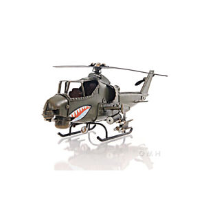 "Bell AH-1 Cobra Snake Metal Desk Top Model 13"" Attack Helicopter Aircraft Decor"