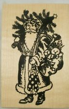 Santa with Christmas Tree Wood Mounted Rubber Stamp, PSX G-398, Toys, Holiday