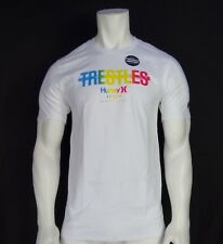 NEW HURLEY SURFING CLASSIC TREOTLES WHITE MENS SHORT SLEEVE T-SHIRT RHRL-68