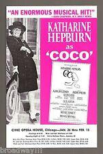 """Katharine Hepburn """"COCO"""" Alan Jay Lerner / Andre Previn 1971 Chicago Flyer"""