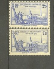 "FRANCE STAMP TIMBRE N°426 ""EXPO NEW YORK,STATUE LIBERTE,2 COULEURS"" NEUFS xx TTB"