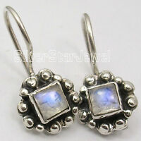 """925 Solid Silver Authentic RAINBOW MOONSTONE Senior Citizens Day Earrings 0.9"""""""