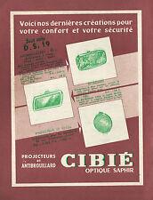 PUBLICITE CIBIE  ANTIBROUILLARD POUR CITROEN DS  19 / ACCESSOIRES AUTO AD  1957