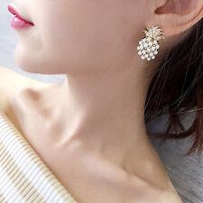 New Fashion Cute Women Girls Gold Pearl Pineapple Ear Stud Earrings Jewelry Gift