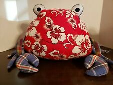 Pottery Barn Kids Crab Pillow Red White Hibiscus Floral Blue Madras Plaid