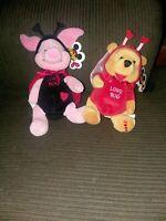Disney Store Valentines Winnie Pooh Piglet Love Bug Bean Bag Plush Set Of 2 NWT