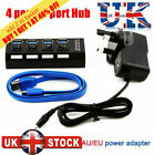 4/7 Port USB 3.0 Hub 5Gbps High Speed On/Off Switches AC Power Adapter for PC FS
