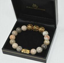 Beautiful Aurum Brothers Bracelet 12mm Mixed Stone Gold Plated EUC---B15