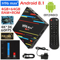 Smart TV BOX H96 MAX+ Android 8.1 Mini PC Quad Core WiFi 4Gb 32/64GB 4K 1080P PB