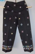TALBOTS PETTIES  Black Embroidered Flowers Ankle Cropped Pants w/Stretch Size 4P