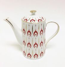 NEW GRACE'S WHITE+RED+METALLIC ROSE GOLD TRIM PORCELAIN,COFFEE POT,TEAPOT 7 CUPS