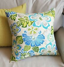 Natural, Taupe, Green and Blue Floral Cotton Duck Pillow Cover - Various Sizes