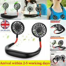 UK Portable USB Rechargeable Dual Fan Summer 3 Speeds Lazy Neck Band Hanging Fan