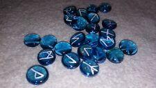 Hand Made Turquoise Glass Elder Futhark Rune Set Wicca Pagan Odinism Heathen