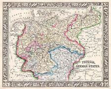 Mapa Antiguo Mitchell 1860 Prusia Estados alemanes réplica cartel impresión pam1138