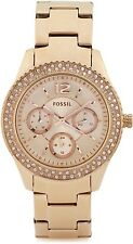 **NEW** LADIES FOSSIL CHRONO STELLA CRYSTAL ROSE GOLD WATCH - ES3590 - RRP £109