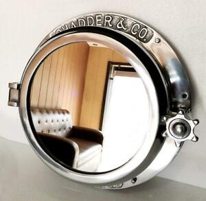 16inch Nickel Plated Heavy Canal Boat Porthole Window Ship Round Wall Mirror