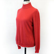 Mendocino 2-Ply 100% Cashmere Knit Soft Warm Mock Neck Coral Sweater Medium
