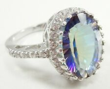 Seta Sterling Silver Mystic Topaz Cocktail Ring Halo Clear Rhinestones Size 7