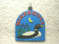 "MINNESOTA RUBBER 2 3/8"" SOUVENIR KEYCHAIN - LOON - LAKE - CATTAILS - MOON - NICE"